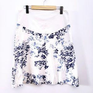 Floral Maternity Skirt White Blue Navy Midi
